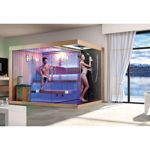 ¡Sauna seca e sauna húmida com chuveiro AT-002D!